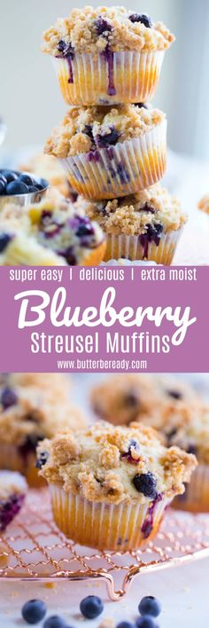 These bakery-style blueberry muffins are incredibly moist and so delicious with an amazing crumbly streusel topping! Easy to make and no mixer required. Streusel Topping For Muffins, Blueberry Streusel Muffins, Crumble Topping, Blue Berry Muffins, Blueberry Crisp, Baking Recipes, Dessert Recipes, Desserts, Amish Recipes