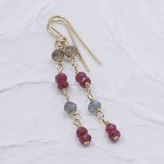 Dangle Earrings, Ruby, Smoky Quartz, Labradorite, 14k Gold Filled