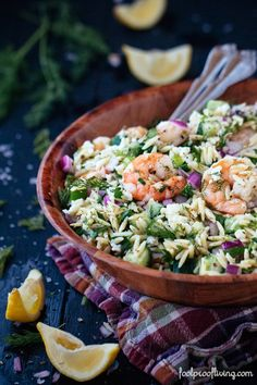 Orzo and Roasted Shrimp flavored with red onions, dill and feta cheese. An easy to make and delicious salad perfect for summer time. (sub feta for goat cheese) Fish Recipes, Seafood Recipes, Salad Recipes, Cooking Recipes, Healthy Recipes, I Love Food, Good Food, Yummy Food, Roasted Shrimp