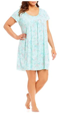 Miss Elaine Softknit Floral Short Nightgown