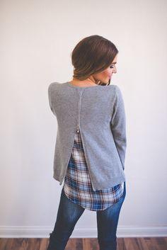 Dottie Couture Boutique - Grey Plaid Sweater, $46.00 (http://www.dottiecouture.com/grey-plaid-sweater/)