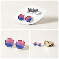 Bisexual Pride Stud Earrings Bisexual Jewelry Pride by KUKAJTUcom, $8.00