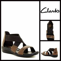 """CLARKS LEATHER SANDALS Metallic Bronze CLARKS LEATHER SANDALS Ankle Strap NEW WITH TAGS   * Wide Elastic crisscross straps  * Multi strap gladiator style vamp  * An open toe style  * Flat ballet style padded & flexible sole w/approx 1.25"""" heel platform  * Super comfortable   * True to size  Material: Leather & Manmade upper Color: Bronze Metallic Brown Leather & Black  No Trades ✅ Offers Considered*✅ *Please use the blue 'offer' button to submit an offer Clarks Shoes Sandals"""