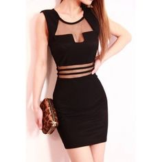 $9.49Sexy O Neck Front Patchwork Sleeveless Black Cotton  Sheath Mini Dress