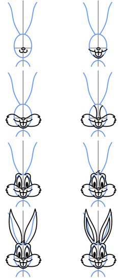 how to draw bugs bunny face   How to Draw Cartoons