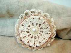 Crochet brooch  cappuccino and cream with a heart by BellaTextura ~ lovely