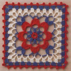 Handmade by LJ : Squares em Croche/Crochet Squares Crochet Square Pattern, Crochet Motifs, Crochet Blocks, Square Patterns, Crochet Squares, Crochet Granny, Crochet Stitches, Knit Crochet, Crochet Patterns