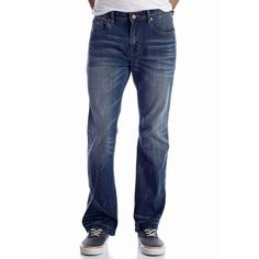 Chip  Pepper California 2 Year Dark Bobby Bootcut Jeans ($41) ❤ liked on Polyvore featuring men's fashion, men's clothing, men's jeans, mens dark jeans, mens slim fit bootcut jeans, mens bootcut jeans and mens boot cut jeans