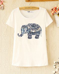 Spring and summer fashion beaded elephant printed short-sleeved T-shir – Tepayi