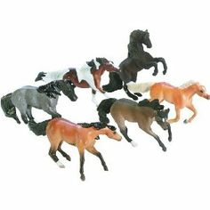 """Breyer Mini Whinnies - Mustang Horses by Breyer. $14.95. Mini Whinnies size models. 1:64 scales. New for 2008. A herd of six mustang horses. Flower shaped carry case. From the Manufacturer Discover a world of equine competition in a carry case. Breyer's Mini Whinnies Mustang collection contains 6 colorful mustang horses. Product Description Dimensions: 2""""L. Recommended Age: 4+ Years"""
