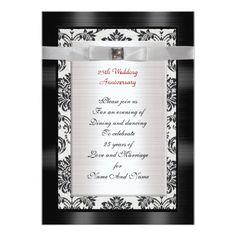25th Anniversary party invitation black and white