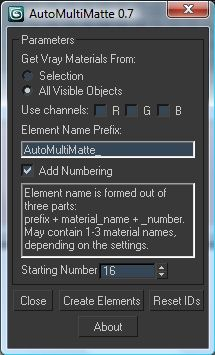 AutoMultiMatte (free)This script utilizes new EffectID property of the VrayMaterials in Vray 2.0 and creates MultiMatte render elements for the all or for the selected objects' Vray materials and assigns proper values to their Effects ID property.