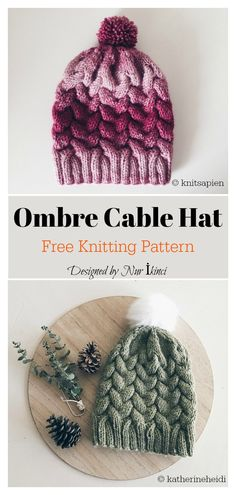 This Ombre Cable Hat Free Knitting Pattern is an ideal project for experienced beginner knitters looking to advance their knitting skills. Vogue Knitting, Knit Beanie Pattern, Mittens Pattern, Crochet Pattern, Cable Knitting Patterns, Loom Knitting, Free Knitting, Free Knitted Hat Patterns, Cable Knit Hat