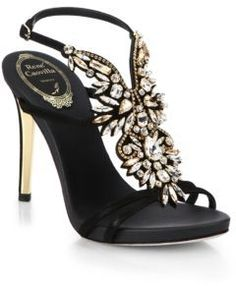 $1,680, Embellished Satin Strappy Sandals by Rene Caovilla. Sold by Saks Fifth Avenue.