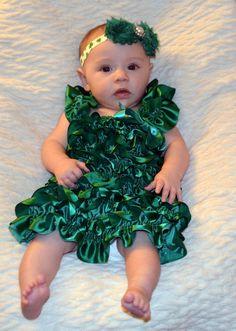 Saint Patrick's Day Satin Dress & Matching Headband-Baby Saint Patrick's Day Outfit