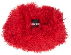 Colle en fourrure rouge, soldes House of Holland