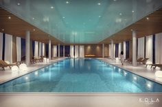 SPA & Wellness zone of the Imperial Park Hotel, Poland. Visualisation of an indoor swimming pool. Interior design: URBA ARCHITECTS.   Tags: stretch ceiling, ceiling with timber batten panels, surface finishes, hotel design ideas, fireplace by the pool, retail visualizations for architects and real-estate developers.