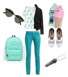 """""""Untitled #5"""" by burdian on Polyvore featuring Zizzi, Ray-Ban, Kate Spade, Vans and Karl Lagerfeld"""