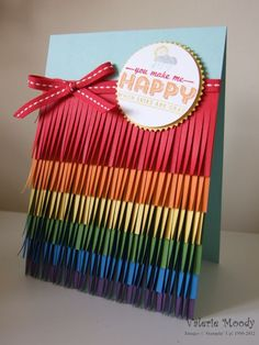 Rainbow Fringe Card - Stamping With Val - Valerie Moody; Independent Stampin' Up! Demonstrator. X