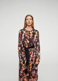 Bow floral dress - Women | MANGO USA