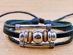 personalized mens  bracelets  leather bracelet by lifesunshine, $7.99