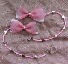 Cochlear implant / hearing aid / BAHA, retaining cord- Pink and white Bow by…