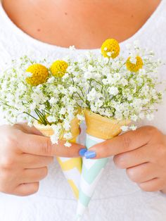 DIY ice cream cone bouquet  Would be cute as favors or gifts for a summer or spring theme
