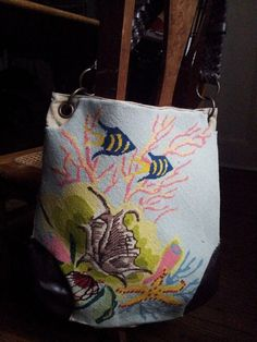3179f3e412 Grandma s needlepoint wall hanging added to front of canvas tote bag