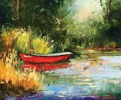 Red Boat by Gleb Goloubetski, Oil on Canvas