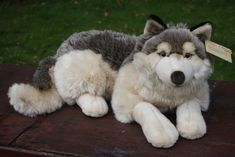 My plush collection of Wolves, Siberian Huskies, Samoyeds, Arctic Foxes, Snow Leopards and German Shepherds Plush wolf by Playkids Wolf Stuffed Animal, Cute Stuffed Animals, Stuffed Animal Patterns, Baby Animals Super Cute, Cute Animals, Wolf Plush, Wolf Husky, Plushie Patterns, Cute Plush