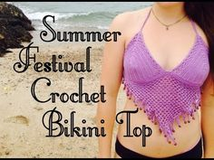 ▶ Summer Festival Beaded Crochet Bikini Top Free Pattern - How To Crochet A Bikini - YouTube