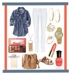 """""""Chambray and White"""" by yjmunson ❤ liked on Polyvore featuring Tai, Chloé, Lana, Bloomingdale's, Forever 21, Hudson Jeans, Too Faced Cosmetics, Michael Kors, Old Navy and Deborah Lippmann"""