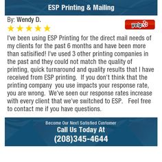 I've been using ESP Printing for the direct mail needs of my clients for the past 6 months...