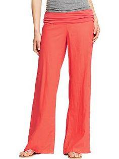 Essential Camp Pants!  Women's Knit-Waistband Linen Pants | Old Navy