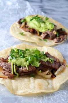 These tacos are a quick, easy and scrumptious with prime rib, onions and a creamy avocado horseradish sauce.