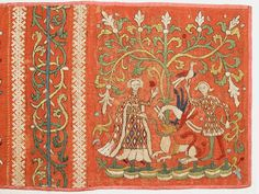 Embroideries with Allegorical Scenes Medieval Embroidery, Red Pigment, The Cloisters, Metallic Thread, 14th Century, Art History, Needlework, Embellishments, Bohemian Rug