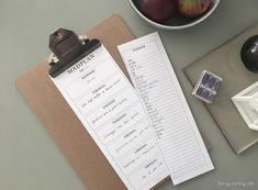 Simpelt skema til madplan / print-selv kvit og frit | SIRLIG HERLIGHEDER