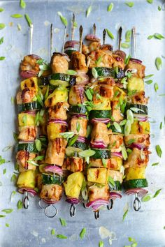 GRILLED CHICKEN SKEWERS- Take your chicken skewers to the next level with this recipe. Gone are the days of plain ol' burgers and hot dogs. Click through for more inspiring recipes.