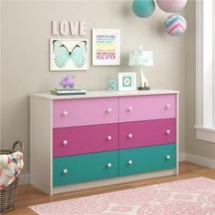 Nola 6 Drawer Double Dresser by Zoomie Kids Girl Dresser, 6 Drawer Dresser, Teen Girl Bedrooms, Little Girl Rooms, Teal Girls Rooms, Commode Rose, Bunk Beds With Drawers, Kids Dressers, Wardrobe Storage