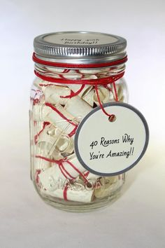 Diy Birthday Gifts Discover Message Filled Mason Jar -Love Wish Jar Craft Gifts, Diy Gifts, Best Gifts, Handmade Gifts, Mason Jars, Mason Jar Gifts, Mason Jar Christmas Gifts, 50th Birthday Party, Birthday Gifts