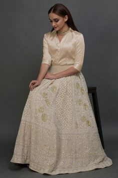 Champagne Chikankari Zardozi Beads & Sequin Skirt with Blouse - - Indian Wedding Outfits, Bridal Outfits, Indian Outfits, Mehendi Outfits, Indian Bridal Lehenga, Red Lehenga, Lengha Choli, Sabyasachi, Anarkali