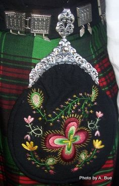 Norwegian hand embroidered purse with pewter clasp and pewter belt