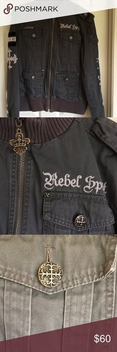 Men's  REBEL SPIRIT jacket Awesome jacket in excellent condition...no rips, stains or damage. Lots of detail. Has a button on hoodie. Rebel Spirit Jackets & Coats