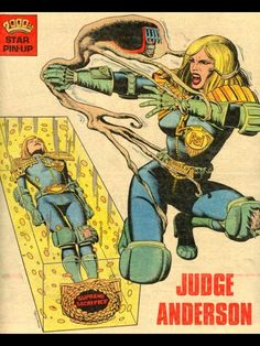 Judge Anderson AD Pin-Up, showing her encased in Boing after being possessed by Judge Death) by Brian Bolland Comic Book Characters, Marvel Characters, Comic Character, Comic Books Art, Comic Art, 2000ad Comic, Alternative Comics, Comic Book Girl, Comic Book Panels