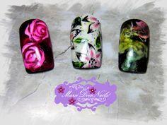 #MarsiDoesNails! #nailart #smokenails #sharmeroses #flowernails #smokegalaxy