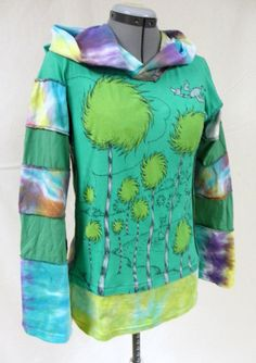 THE LORAX upcycled pixie hoodie with hand dyed Hemp by coffeejill, $65.00