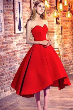 Prom Dresses 2019, 2018 Prom Dress, High Low Prom Dress, Red Prom Dress, Custom Made Prom Dress #CustomMadePromDress #HighLowPromDress #PromDresses2019 #RedPromDress #2018PromDress