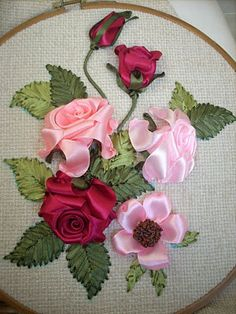 Wonderful Ribbon Embroidery Flowers by Hand Ideas. Enchanting Ribbon Embroidery Flowers by Hand Ideas. Ribbon Embroidery Tutorial, Rose Embroidery, Silk Ribbon Embroidery, Embroidery Kits, Embroidery Supplies, Embroidery Designs Free Download, Simple Embroidery Designs, Ribbon Art, Ribbon Crafts