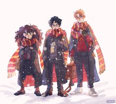 "Drawing my faves in full on winter mode and getting them under the snow is the thing I will never get tired of:"") Fanart Harry Potter, Harry Potter Trio, James Potter, Harry Potter World, Harry Potter Memes, Hogwarts, Desenhos Harry Potter, Viria, Cultura Pop"