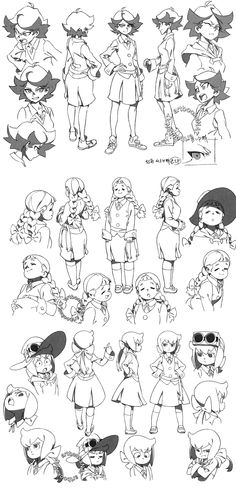 Yoh Yoshinari's character designs for the new Enchanted Parade Little Witch Academia (リトル ウィッチ アカデミア)